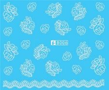 Nail Art Stickers Water Decals Transfers White Mono Flowers Roses (B006)