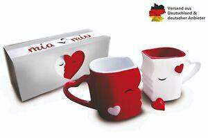 Mia Mio - Kaffeetassen Küssende Tassen Set Geschenk / Hochzeit / Freundin