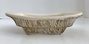 """Vintage McCoy USA Pottery Tonecraft Pattern White and Gold 7 1/4"""" Planter"""