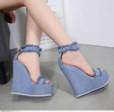 Womens Denim Wedge High Heels Platform Buckle Sandal Peep Toe Summer Club Shoes