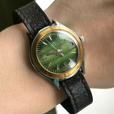Vintage Luch Verde Rayas Bicolored Pequeño Fecha Raro 1814 Soviético Reloj