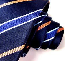 RECENT Ermenegildo Zegna Blue Gold Striped Tie 3.25