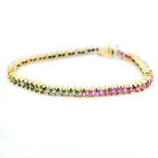 Bracelet In 14K Yellow Gold With Emerald Ruby & Sapphire Stones 10.1 Grams 7.5""