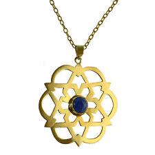 Modeschmuck-Halsketten & -Anhänger aus Stein und Messing mit Lapislazuli-Perlen