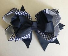 "New Handmade Grosgrain//Gingham Ribbon 5/"" Holiday School Stacked Bow Hair Clips"