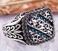 925 Sterling Silver Turkish Handmade Ottoman Turquoise Men Man Ring Gift For Him
