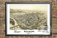 Old Map of Mifflintown, PA from 1895 - Vintage Pennsylvania Art, Historic Decor