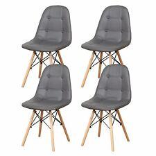 4er Set Stühle Esszimmerstühle Küchenstühle Wohnzimmerstühle Lederstoff Grau