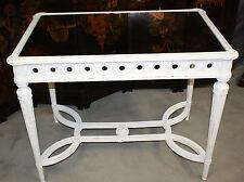 table / bureau de style Louis XVI patiné blanc et plateau en verre moiré