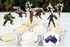 12x All Stars Cast Avengers Heroes CUPCAKE CAKE JELLY CUP TOPPERS Fun Party Deco