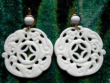 Kenneth Jay Lane Large White Gold Drop Wire Pierced Earrings