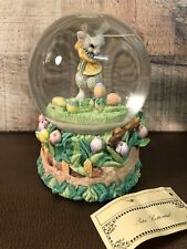 Music Box Here Comes Peter Cottontail Easter Snow Globe Golf Spring Tulips Nwt