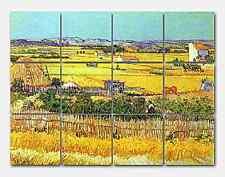 Van Gogh Harvest at La Crau Ceramic Mural Backsplash Kitchen 17x13 in