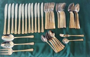 Oneida 18/10 stainless Golden Katherine 11 place settings + xtras NM