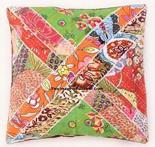 Indian Vintage Cushion Cover Kantha Pillow Cushion Case Patchwork Bed Throw 16""