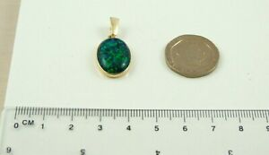 Solid 9ct 375 Yellow Gold Oval Lab Created Black 18mm X 13mm Opal Pendant Only