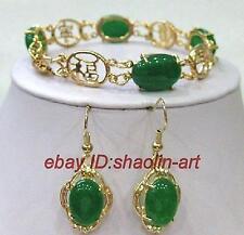 vert jade  lplaqué or ien Boucles d'oreilles bracelet parure