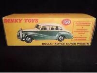 Dinky 150 Rolls-Royce Silver Wraith Empty Repro Box