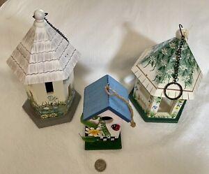 Vintage Three Wooden Bird Houses.