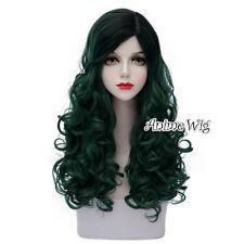 60CM Ombre Lolita Punk Black Mixed Dark Green Long Curly Cosplay Wig Halloween