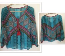 Women's Casual Aztec Vintage Silk Top size Small