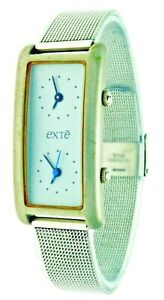 New Exté Dual Movement Time Mesh Stainless Steel Band Mineral Glass Wrist Watch