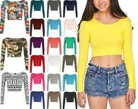 NEW WOMENS CROP TOP LONG SLEEVE SCOOP CREW NECK LADIES BRALET T-SHIRT VEST 8-14