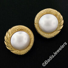 14K Yellow Gold Large Round Mabe Pearl Textured Ribbed Button Omega Earrings