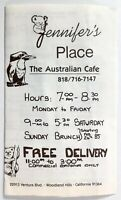 1985 Vintage Menu JENNIFER'S PLACE Australian Cafe Restaurant Woodland Hills CA