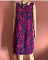 Next Linen Blend Blue/Pink Tropical Print Shift Dress UK12 Pockets