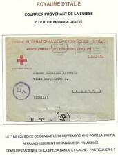 Switzerland covers 1940 censored RED CROSS cover Geneve to La Spezia