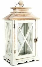 Distressed Whitewashed Wooden Lantern Hurricane Tealight Candle Storm Home Decor