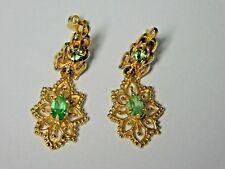 Elegant 14k Solid Yellow Gold &  Peridot Dangle Earrings (8)