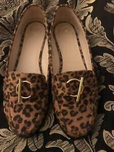Faith Leopard Print  Faux Suede Loafers Size 6  EE Fitting Extra Wide