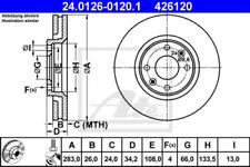 2x Bremsscheibe für Bremsanlage Vorderachse ATE 24.0126-0120.1