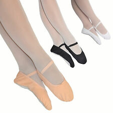 Boys / Girls CANVAS BALLET SHOES Pre-Sewn Elastics Full Sole Black White Pink