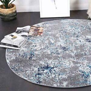 Erith Grey Blue Urban Abstract Contemporary Round Floor Rug - 2 Sizes