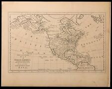"""C. Cooke Copperplate Engraving """"New & Accurate Map of North America"""" ca 1780"""