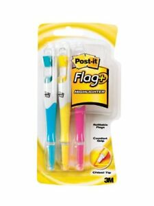 Post-it Flag Highlighter Pen - Yellow, Pink, Blue Ink - 3 / Pack (689HL3)