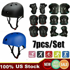US 7pcs Helmet Knee Elbow Pads Set Adult Teens Skateboard Protective Gear Set