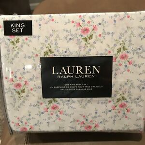 NWT RALPH LAUREN KING FLORAL PINK COTTAGE CABBAGE CHIC SHABBY SHEET SET