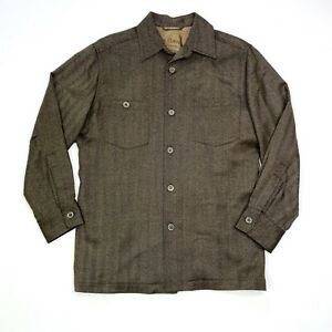 Tommy Bahama Wool Herringbone Button-up Jacket Shirt Brown Lined Men's Small