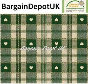 Green Heart Check PVC Wipe Clean Vinyl Tablecloth ALL SIZES - Code: C57-2