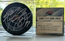 Marcus Foligno Minnesota Wild Game Used 2018 Playoff Goal Puck Autograph v Jets