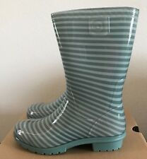 UGG Kids Girls Size 3 Raana Stripes Aloe Vera Green Rubber Rain Boots Waterproof