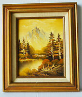 "Vintage 9"" Acrylic Painting on Canvas Forest Mountain Landscape Beautiful View"