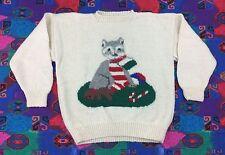 CAT SWEATER - Vtg 50s-60s White Knit Wool Christmas Crewneck, Adult Mens MEDIUM