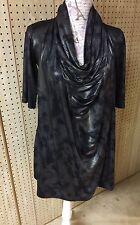 Seis Isabelle Women's Draped Stretch Long Shirt Top Blouse Dress M