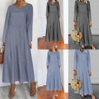 UK Women Baggy Long Sleeve V Neck Dress Casual Loose Maxi Dress Kaftan Size 8-26