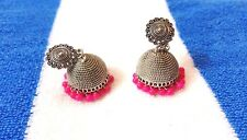 Beauty Hub Oxidised Silver Plated Pink Jhumka Traditional Earrings for Women